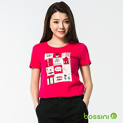 bossini女裝-印花短袖T恤35亮桃紅