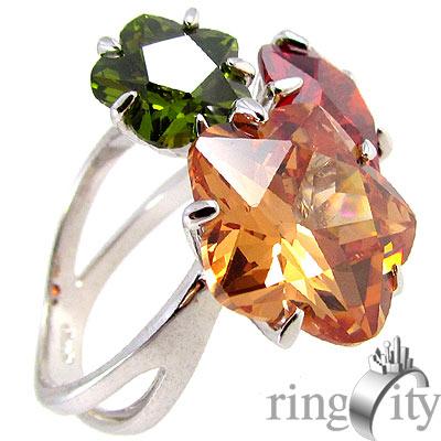 RingCity 彩鑽色花型組合戒
