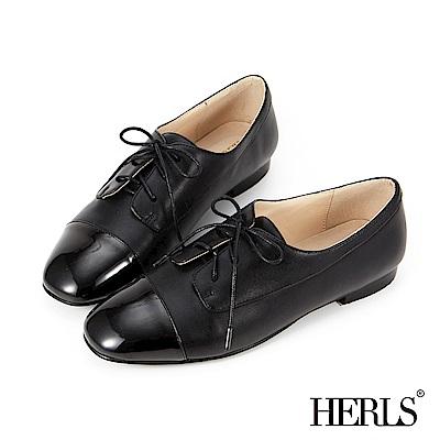 HERLS 內真皮 俐落小方頭拼接牛津鞋-黑色
