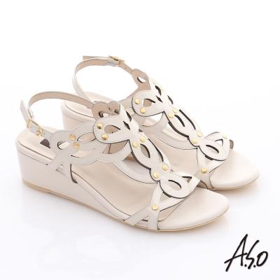 A.S.O 玩美涼夏 鏡面牛皮鏤空花朵鉚釘楔型涼鞋 米色