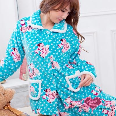 天使霓裳 甜蜜星光 居家柔軟水貂絨睡衣組(藍)