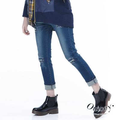 OUWEY歐薇-微磨破洞貼鑽窄管牛仔褲-藍