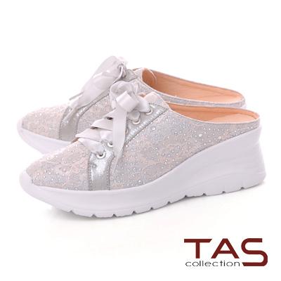 TAS水鑽蕾絲蝴蝶結厚底涼拖鞋-優雅灰