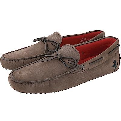 TOD'S For Ferrari 磨砂牛皮綁帶豆豆鞋(男款/棕色)