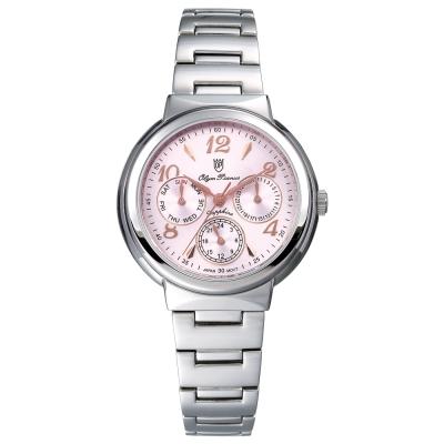 Olym Pianus 奧柏表  Vogue。輕時尚三眼計時都會腕錶-粉/34mm