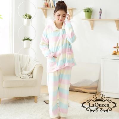 睡衣  溫暖寒冬舒適雙面水貂絨套裝睡袍-繽紛橫條 La Queen