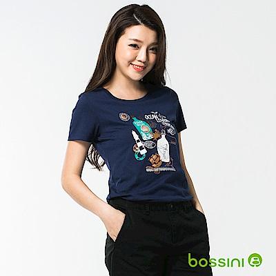 bossini女裝-印花短袖T恤44海藍