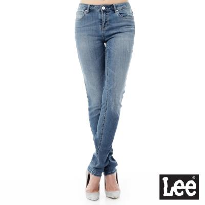 Lee 牛仔褲409中腰合身小直筒牛仔褲/RG-女款-藍