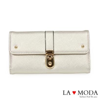 La Moda 約會不敗單品防刮十字紋壓紋大容量質感長夾(銀)