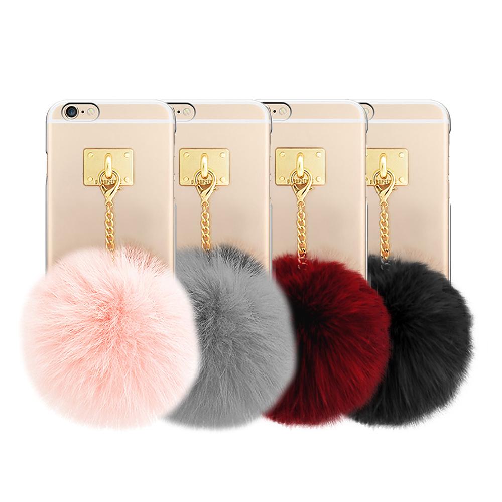 DDPOP iPhone 6 6S Plus韓流明星手機殼療癒毛球吊飾款