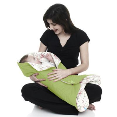 荷蘭 wallaboo Fleur 花仙子厚棉嬰兒包巾-綠色
