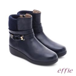 effie 混搭美型 異材質拼接編織扣帶輕量短靴 深藍色