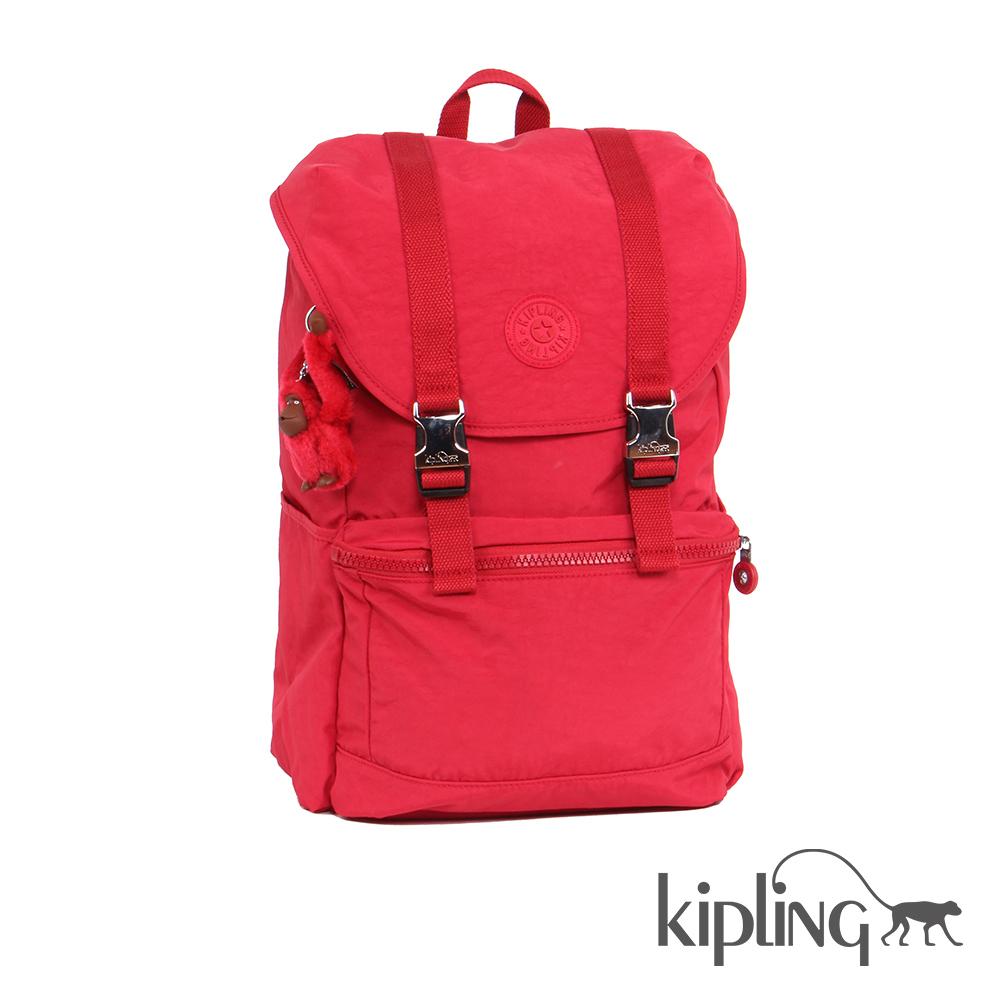 Kipling 後背包 櫻桃紅素面-大