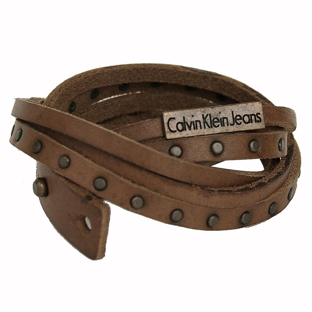 Calvin Klein 棕色皮革鉚釘裝飾纏繞中性個性手環