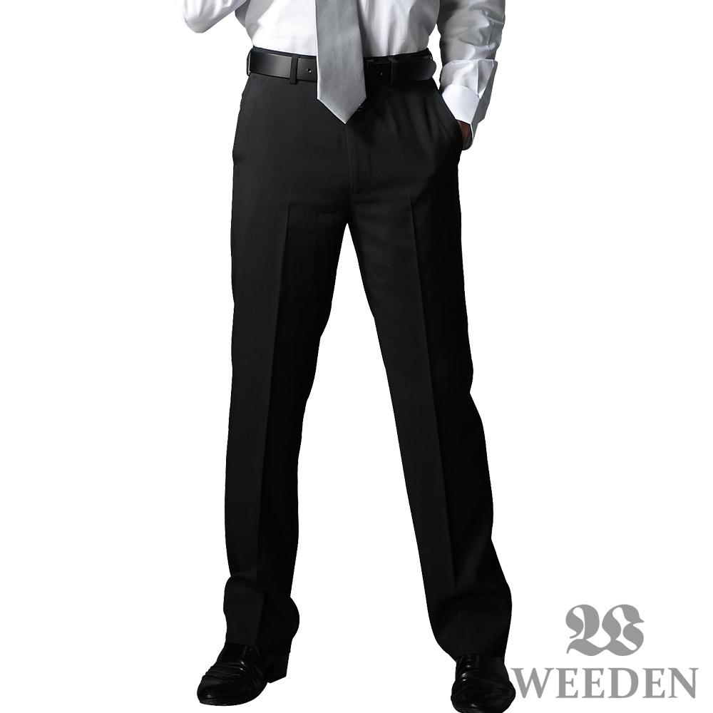 【WEEDEN】經典紳仕素色修身平面西褲‧淳雅黑