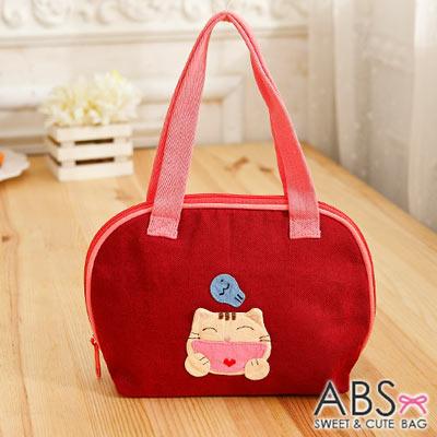 ABS貝斯貓 - HAHA開心貓咪拼布包 小型肩提包 88 - 183  - 活力紅