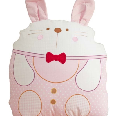 GMP BABY 台灣製純棉可愛兔造型收納被 90*120粉