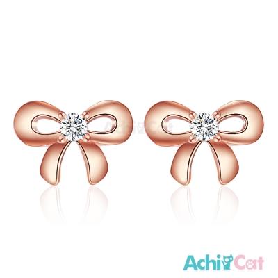 AchiCat 925純銀耳環 小巧蝴蝶結 純銀耳針 玫瑰金
