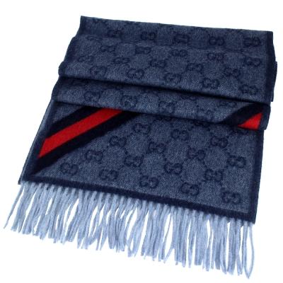 GUCCI 深藍色 LOGO 條紋安哥拉/羊毛混紡圍巾