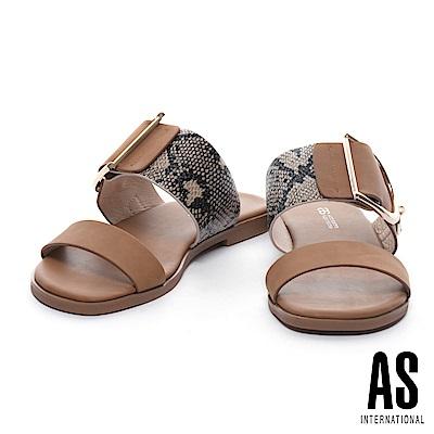拖鞋 AS 蛇紋異材質拼接金屬釦平行繫帶拖鞋-咖