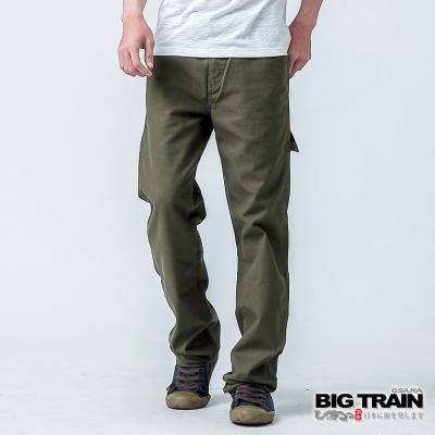BIG TRAIN 貼袋直筒工作褲-男-軍綠