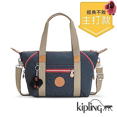 Kipling 手提包 復古藍撞色-中