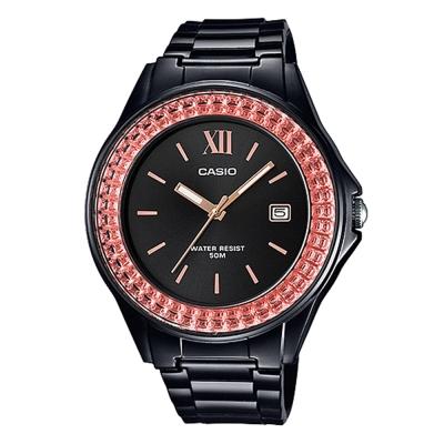 CASIO漾鑽女王簡潔時尚風指針日曆腕錶(LX-500H-1E)黑X金框40.6mm