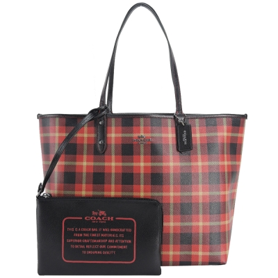 COACH 馬車LOGO格紋雙面PVC托特包(紅x黑)(展示品)
