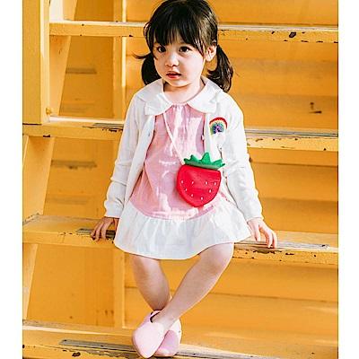 Baby unicorn 粉紅草莓傘狀長袖上衣 (附小包包)
