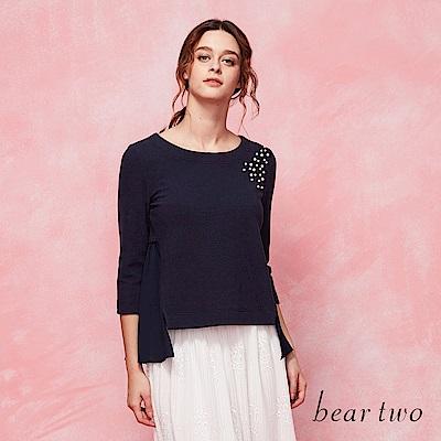 beartwo 搶眼珍珠點綴拼接百摺雪紡造型上衣(二色)