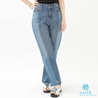 earth music 立體剪裁寬版牛仔長褲