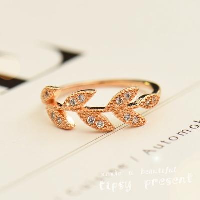 微醺禮物 鋯石 鍍K金合 希臘女神 樹葉鋯石 戒指