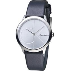 Calvin Klein minimal  大 ck 簡約時尚腕錶-白x皮/35mm