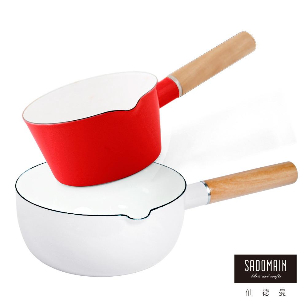 仙德曼 SADOMAIN 琺瑯牛奶鍋15cm-紅色+琺瑯雪平鍋18cm-白色