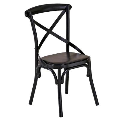 AT HOME-瑪德琳黑色交叉皮面餐椅