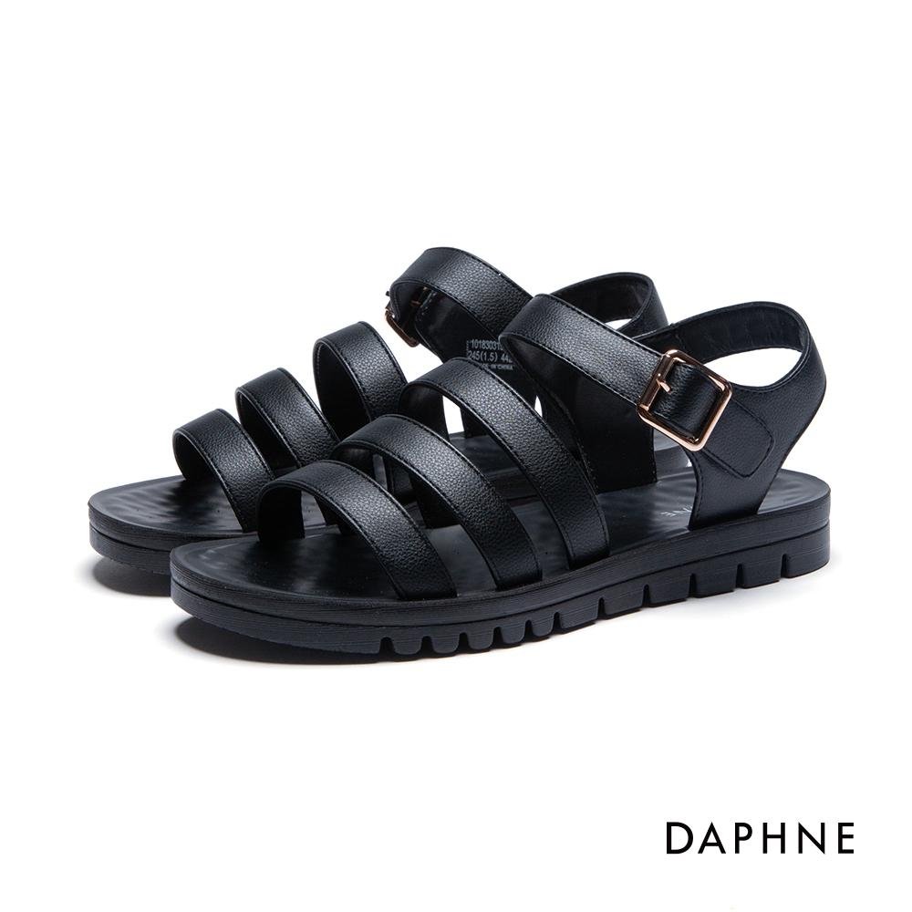 達芙妮DAPHNE 涼鞋-三層條帶按摩顆粒撞色平底涼鞋-黑
