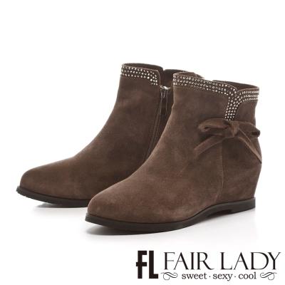 Fair Lady 優雅主題鑽貼麂皮內增短靴 灰