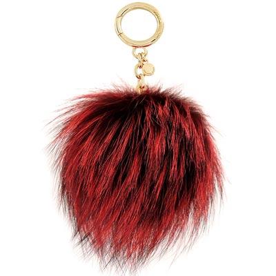 MICHAEL KORS Pom-Pom毛球鑰匙圈吊飾(大/酒紅色)