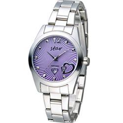 STAR 時代 甜蜜雙心石英錶-紫色x銀色/33mm