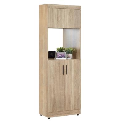 AT HOME-高爾2X6尺橡木紋中空鏡面高鞋櫃