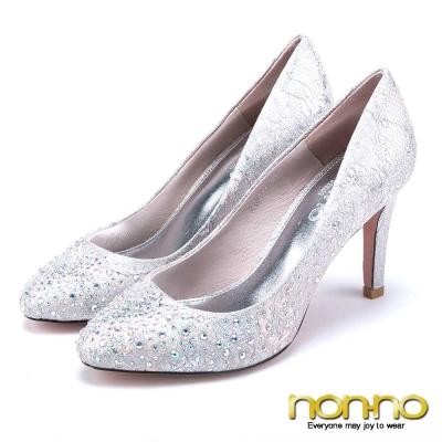 nonno-絕美氣質-彩鑽雕花尖頭高跟鞋-粉