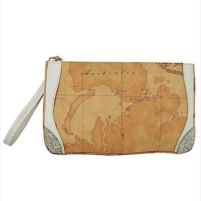 Alviero Martini地圖包 蜥蜴紋手掛零錢包-杏