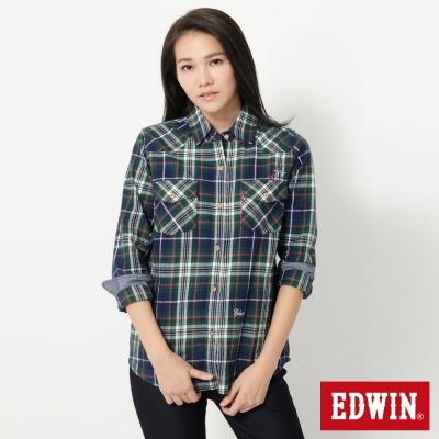 EDWIN 雙口袋休閒短版長袖襯衫-女-綠色