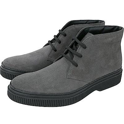 TOD'S 繫帶踝靴款麂皮休閒鞋(男鞋/深灰色)