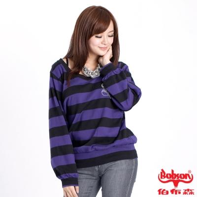 【BOBSON】女款雙色袖寬版長袖上衣(紫黑條01)