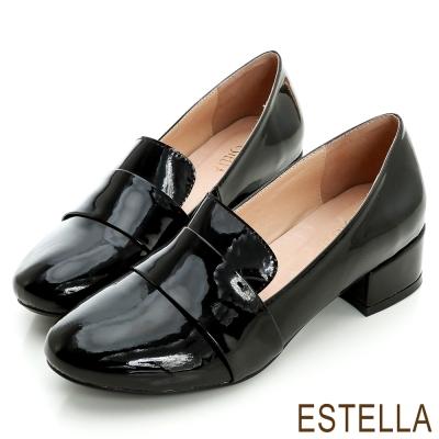ESTELLA-街頭時尚-羊漆皮經典紳士樂福鞋-黑