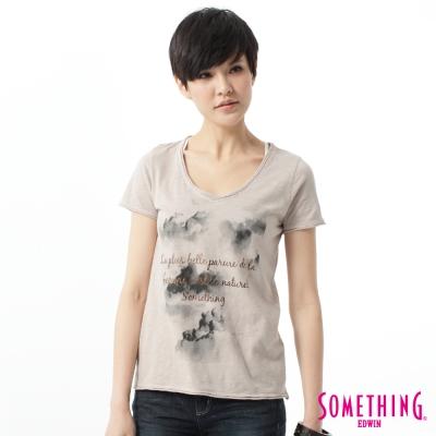 SOMETHING-T恤-雲海印花V領T恤-女-褐