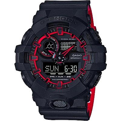 CASIO卡西歐G-SHOCK街頭螢光雙顯手錶-紅GA-700SE-1A4DR