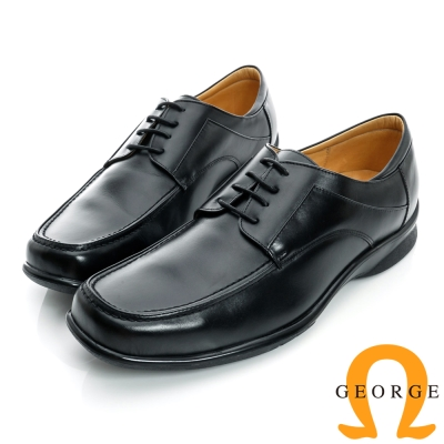 GEORGE-經典素面厚底綁帶真皮方頭鞋-黑色