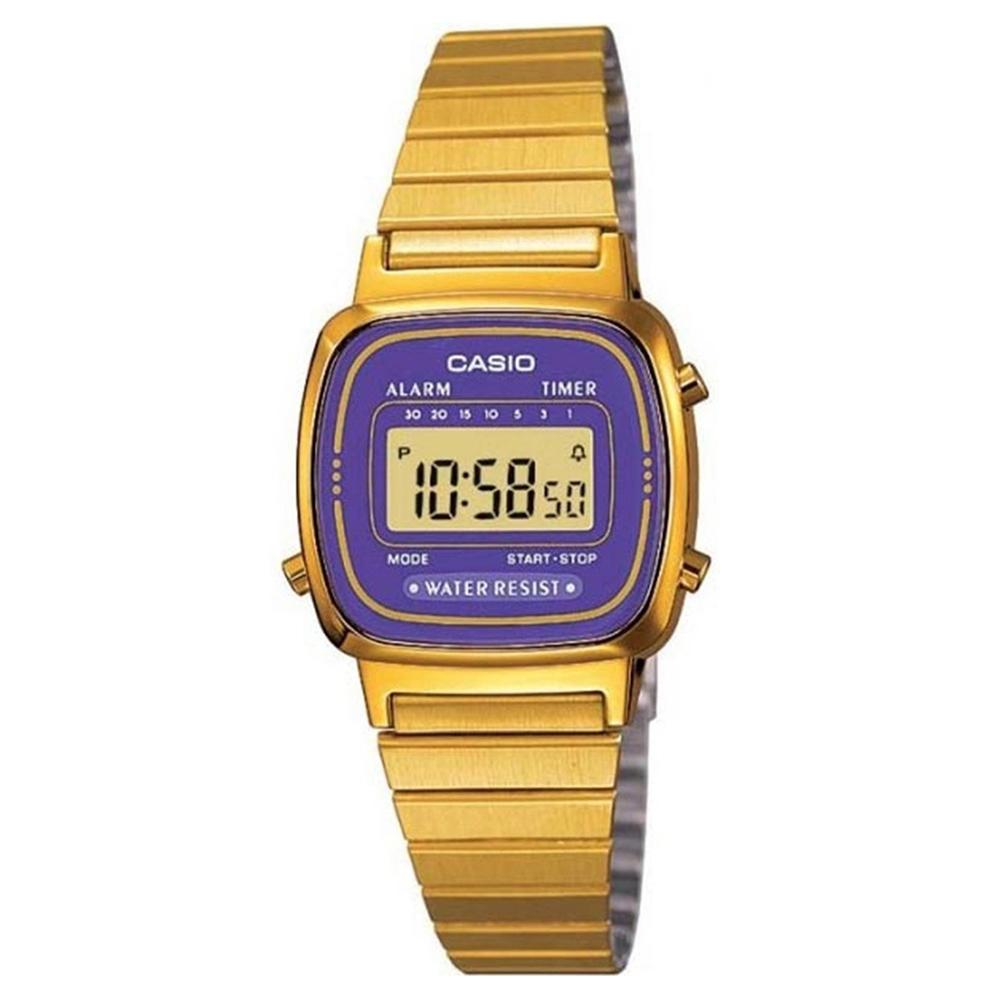 CASIO 復古風金色電子錶(LA670WGA-6)-金/紫框/30.3mm